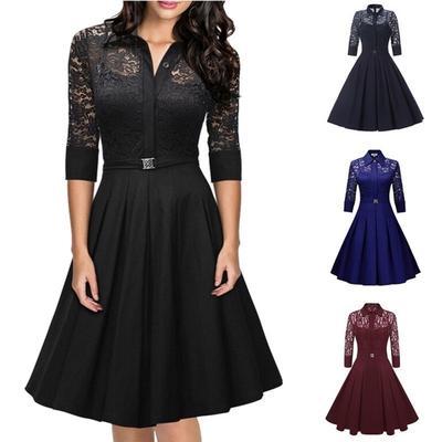 19b1719c21d Винтаж Woman  платье твердых кружева платье партии элегантные дамы вечернее  платье коктейль платье