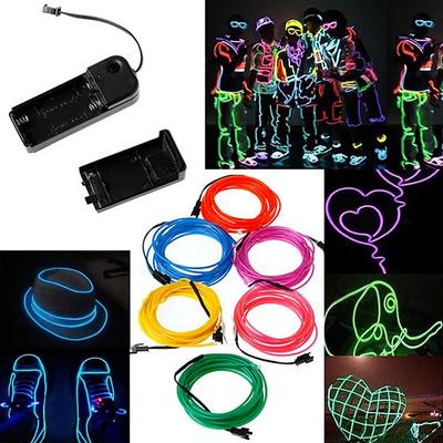 Glow Luminescent Line EL Wire Cable Light Strip Rope Bar Decoration  Colorful DIY