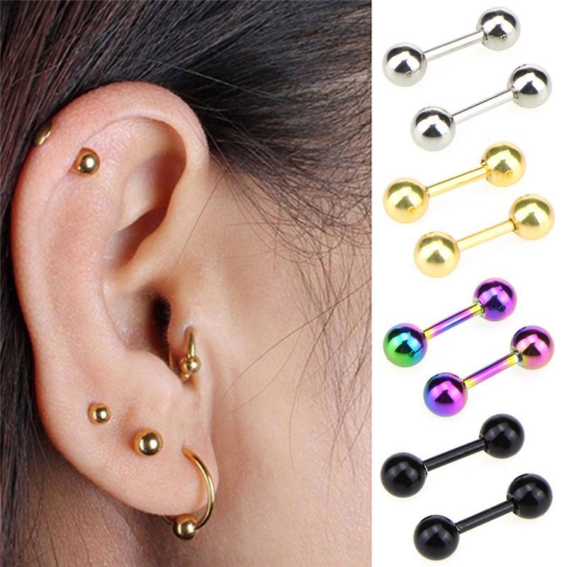 Pair Stainless Steel Tongue Piercing Stud Barbell Tragus Helix Ear piercing punk