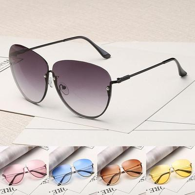 5a8c6eae48e50 Women Rimless Cat Eye Transparent Brand Designer Sunglasses Clearly Large  Metal Gold Frame UV400