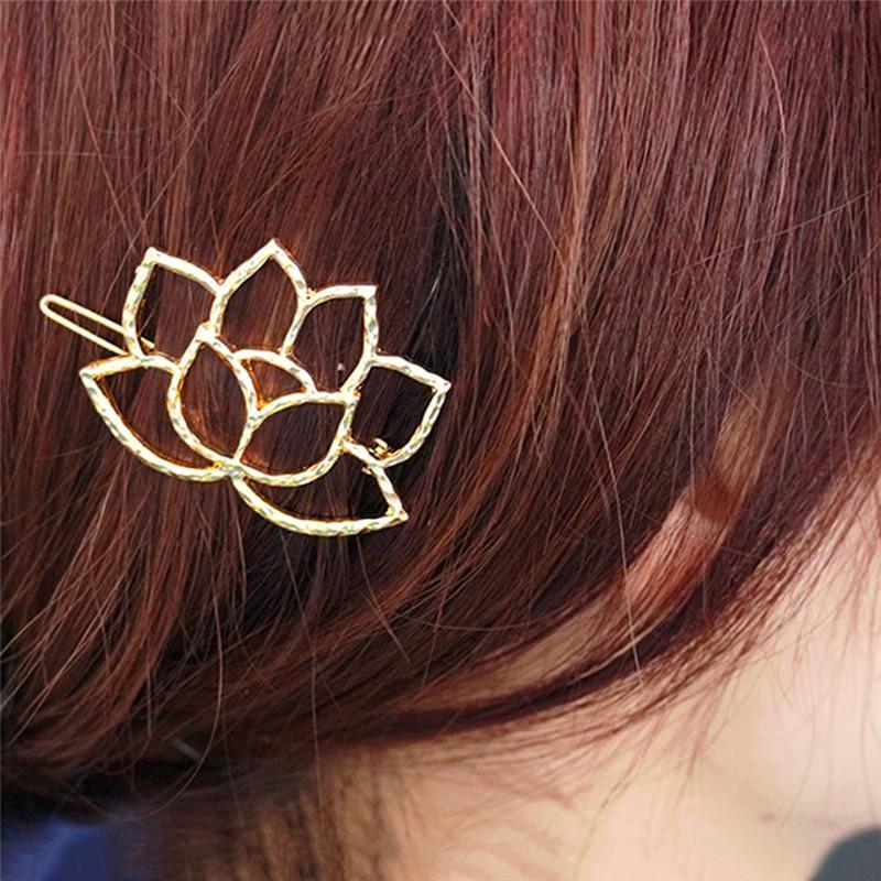 Hallow Metal Hairpin Minimalist Hair clip Gold Lotus Hair clip Girl hairpin Hair Accessory 1 pc