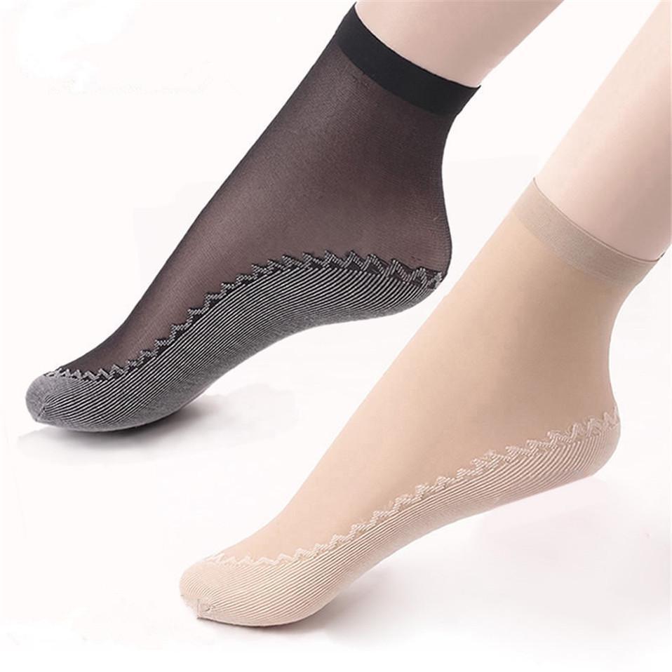 60x Women/'s Nylon Silk Summer Socks Thin Lace Wicking Non-Slip Short Socks