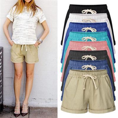 Women Casual Shorts Elastic Waist Short Mini Trousers Pants Summer Plus Size New