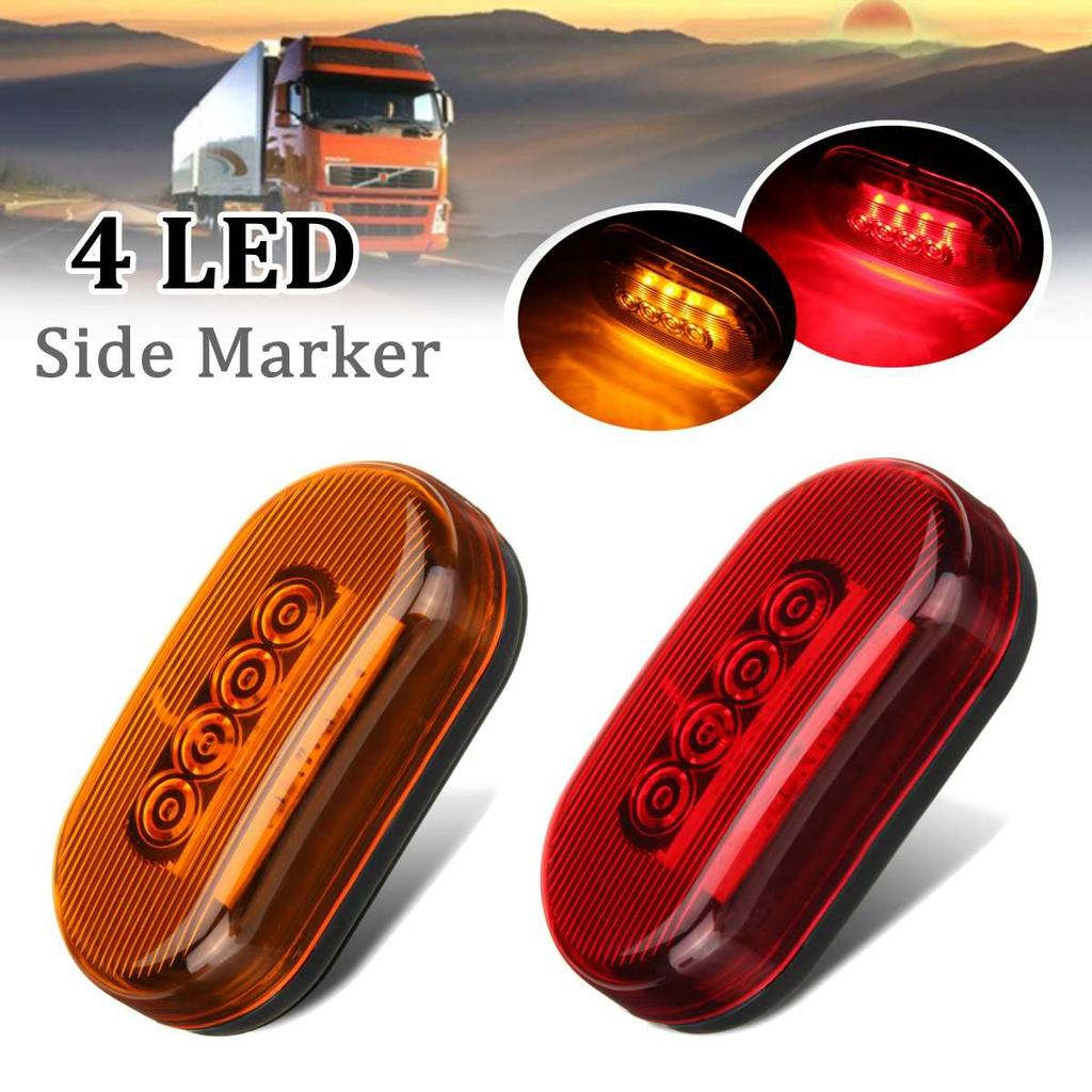 2 PCS RED MARKER SIDE 8 LED TRAILER TRUCK LORRY RECOVERY LIGHTS LAMPS 12V