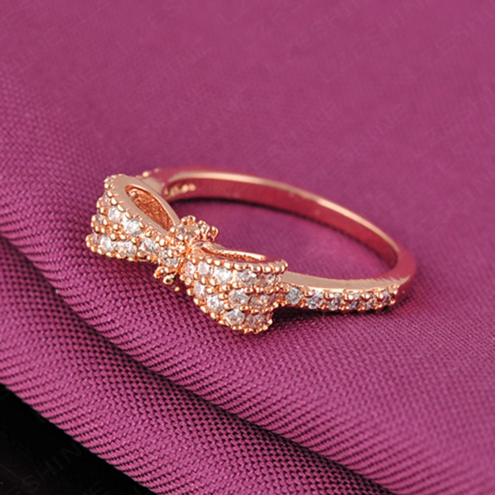 Lovely Women Diamond Plated Butterfly Bow Tie Ring Lady Perfect ...