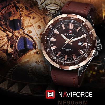 Mens Casual Fashion Wristwatch Leather Strap Waterproof Quartz Watches