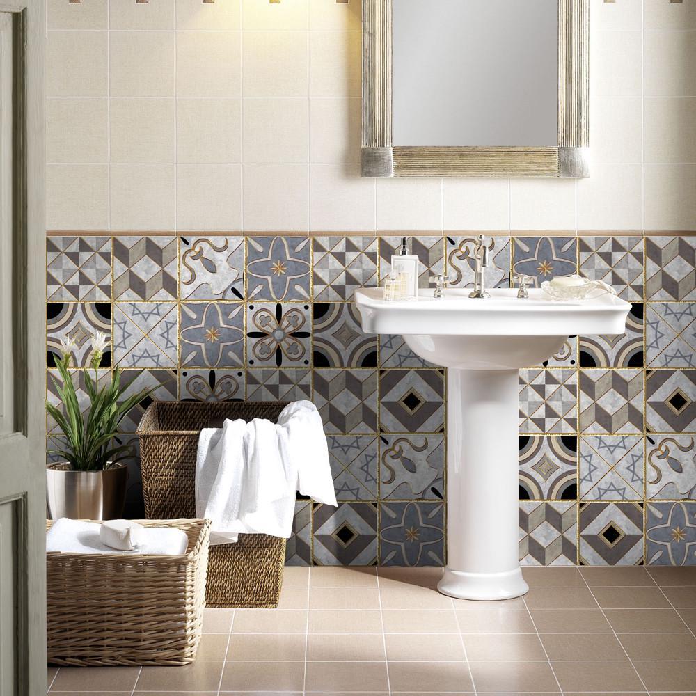 1 рулон самоклеящаяся плитка художественная наклейка на стену стикер DIY кухня ванная комната декор винил – купить по низким ценам в интернет-магазине Joom