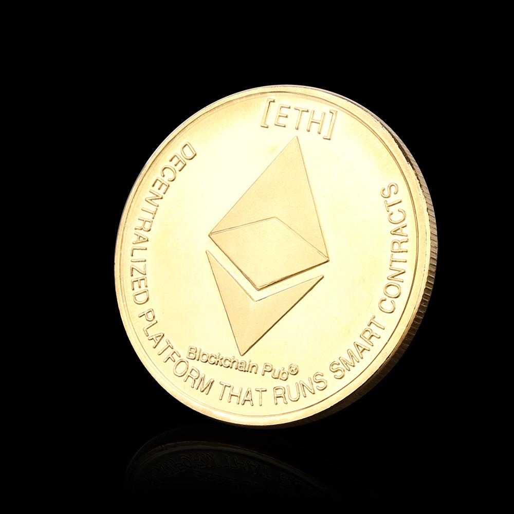 Hot! Gold /& Silver Plated Commemorative Collectible Iron ETH Ethereum Miner Coin