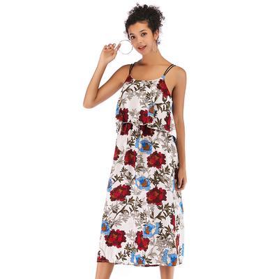 3c4e96fee8 Vestido sin mangas de mujer elegante vestido coctel fiesta gasa bohemia