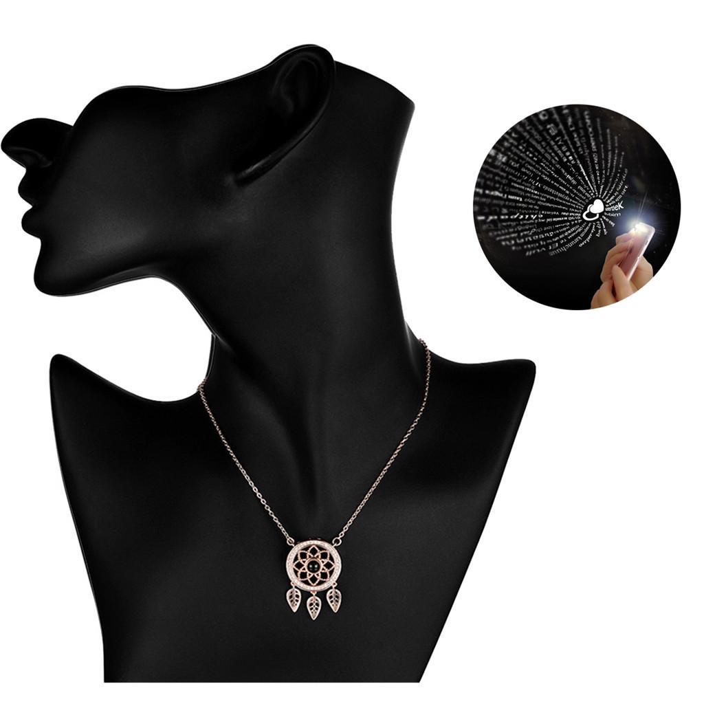 Kristall 100 Sprachen Ich liebe dich Böhmen Halskette für Traumfänger