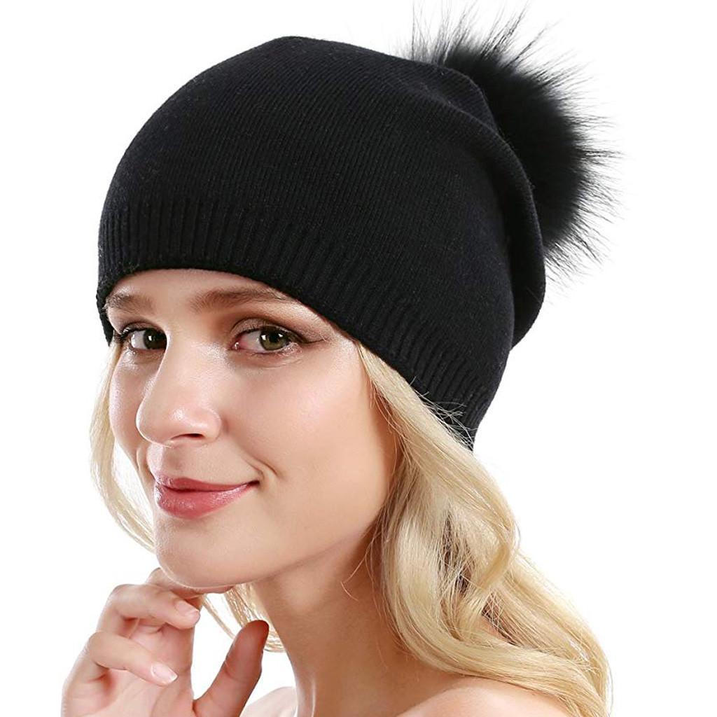 Toddler Kids Winter Braid Hat Cute Fluffy Removable Pompom Beanie Cap Ear Warmer