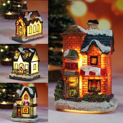 Mini Merry Christmas Decor Christmas Ornamnet Christmas Resin House with Warm White LED Light