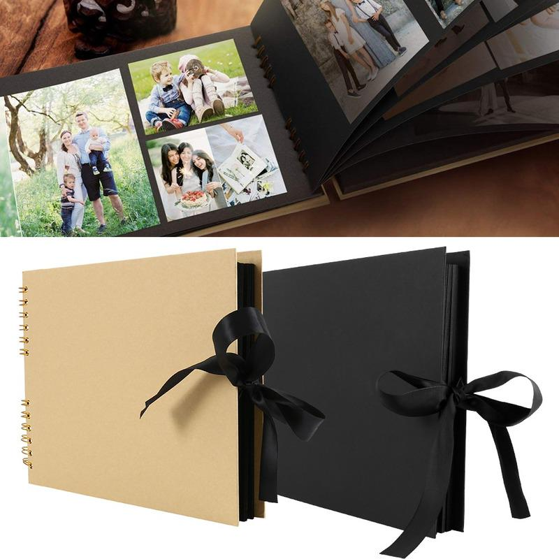 DIY Scrapbook Spiral Album 80 Pages Craft Paper Black AIOR Photo Album Scrapbook Guest Book with 12 Metalic Marker Pens Memory Book Self Adhesive Gift for Wedding Engagement Anniversary Birthday