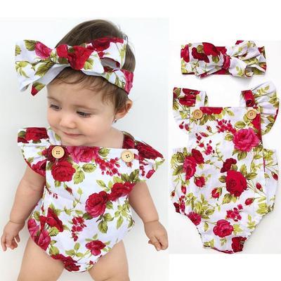 Newborn Baby Girls Clothes Flower Jumpsuit Romper Bodysuit Headband Outfits US