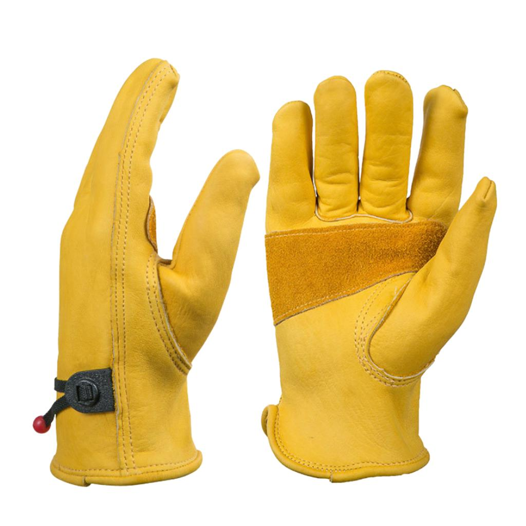 DIY Leather Work Gloves with Wrist Closure Motorcycle, Construction Yardwork