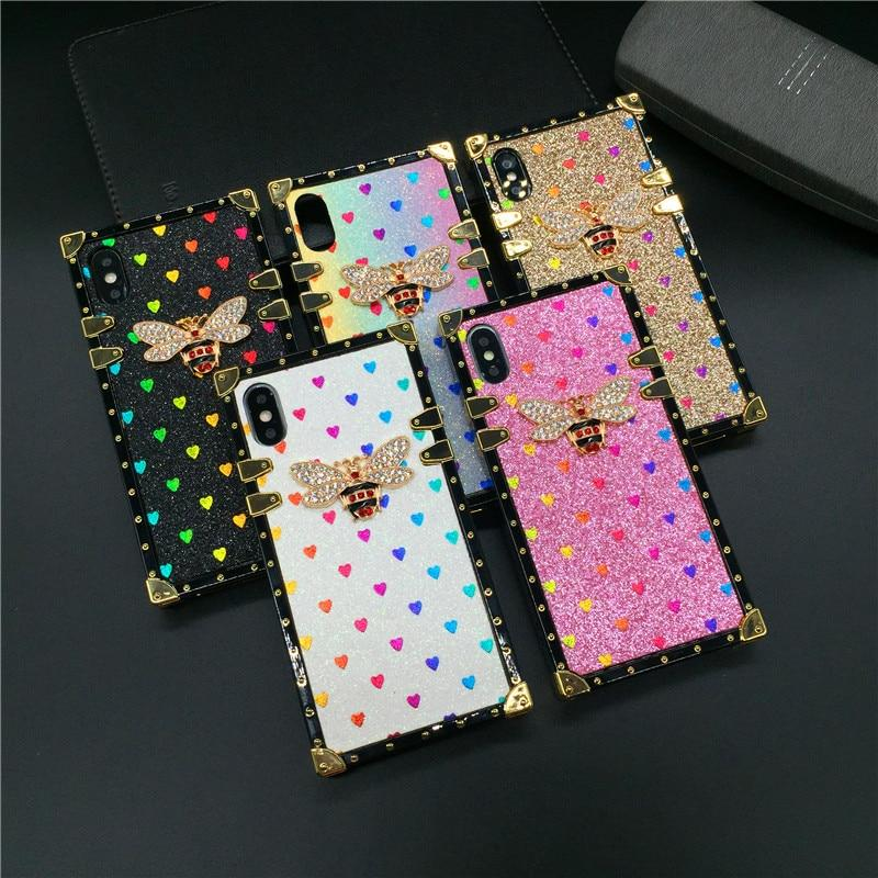 Luxury Square Case for IPhone 12 PRO X XS Max XR Fashion Heart Glitter Bee Cover Phone Cases for Iphone 11 PRO MAX 7 8 Plus 6 6S-buy at a low prices ...