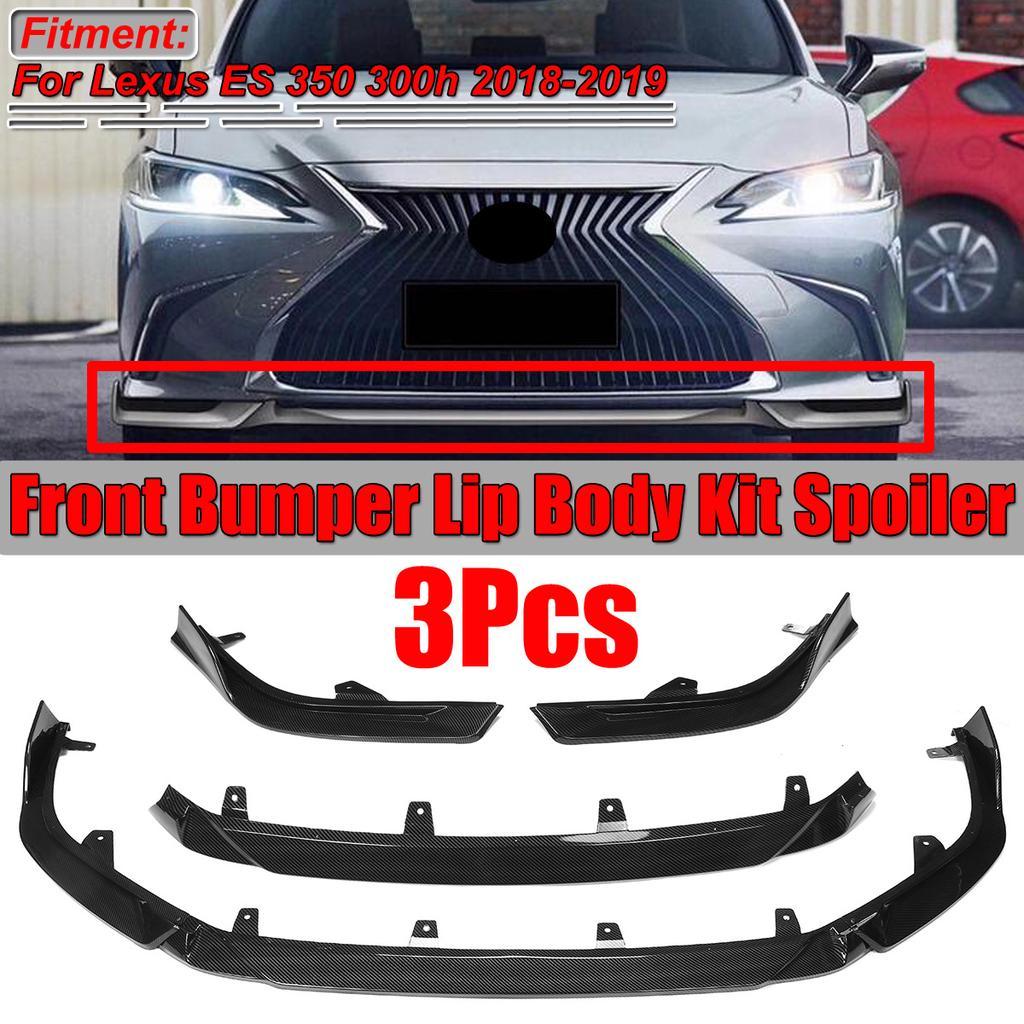 For 2019 Lexus ES 350 300h Gloss Black Front Bumper Lip Spoiler Cover Trim 3PCS