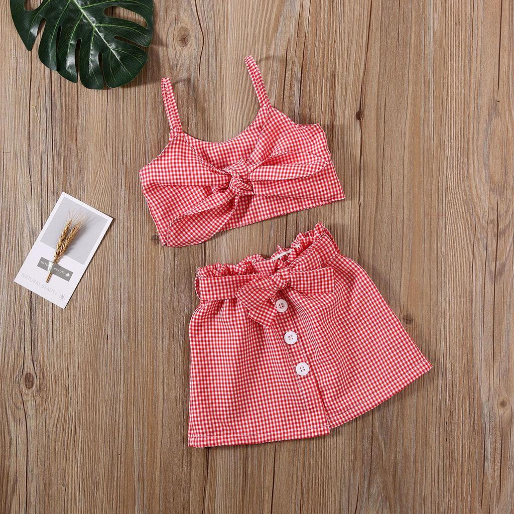 Girls Kids Set Summer Baby Outfits Tops Clothes Top Skirt Toddler Age 2-7 years