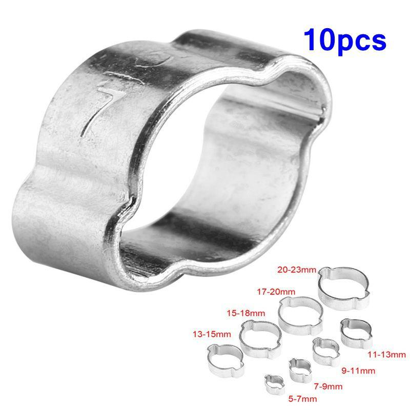 Double Ear O Clips 3//8 8mm 11mm Clamps Petrol Air Water Hose Pipe Steel Clip