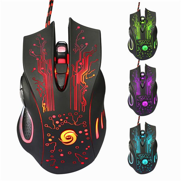 Colorful LED Backlight Adjustable 4000DPI Optical Wired Gaming Mouse FOR PC Hot