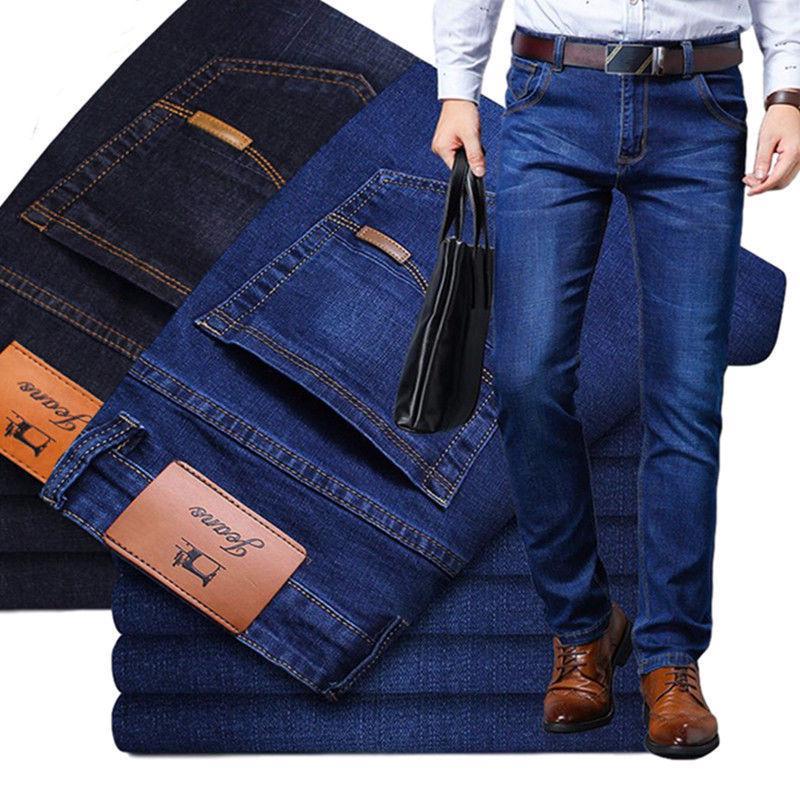Мужская мода Джинс Бизнес Случайный растянуть Slim Джинс Классический джинсовые брюки – купить по низким ценам в интернет-магазине Joom