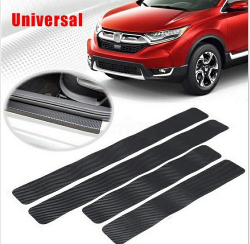 4x 3D Carbon Fiber Look Car Door Plate Sill Scuff Cover Anti-Scratch Sticker Kit