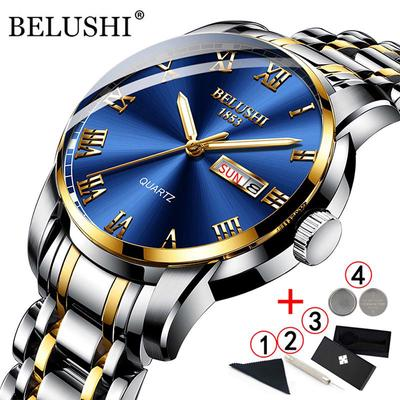 Belushi Classics Quartz Watches Men Luxury Brand Wristwatch Men Waterproof Stainless Steel Gold Date Clock