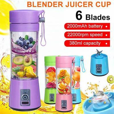 Portable Size 380ml 6 Blades Mini USB Rechargeable Portable Electric Fruit Juicer Smoothie Maker Blender Machine Sports Bottle