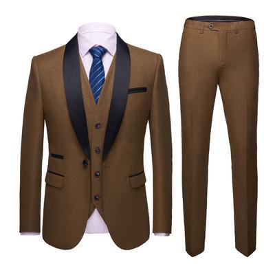 3PCs Men/'s Suit Blazers Coat Pants Vests Slim Fit Korea Formal Wedding Dress