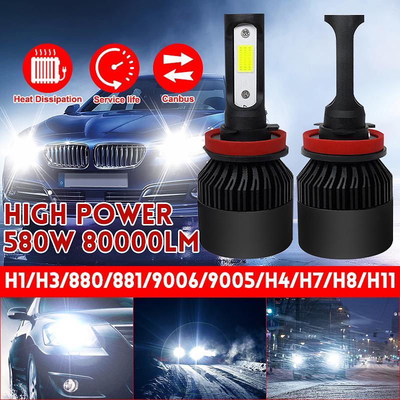2x H4 White LED Headlight Bulbs Kit High-Low Beam Super Bright 110W 8000LM 6500K
