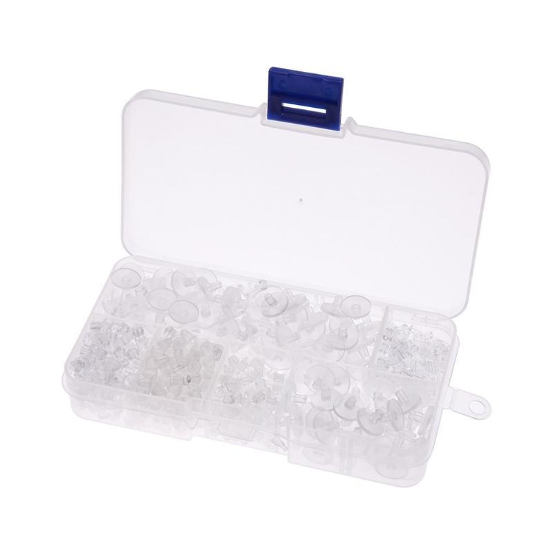 1000pcs Plastic Flat Earring Posts Clear Round Flat Pad Studs Earwire 5mm Tray