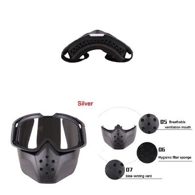 Scelet Detachable Harley Style Motorcycle Goggles Masks Personality Unisex Windproof Locomotive Half-Helmet UV Sunglasses Protective Cycling Racing Riding Mask