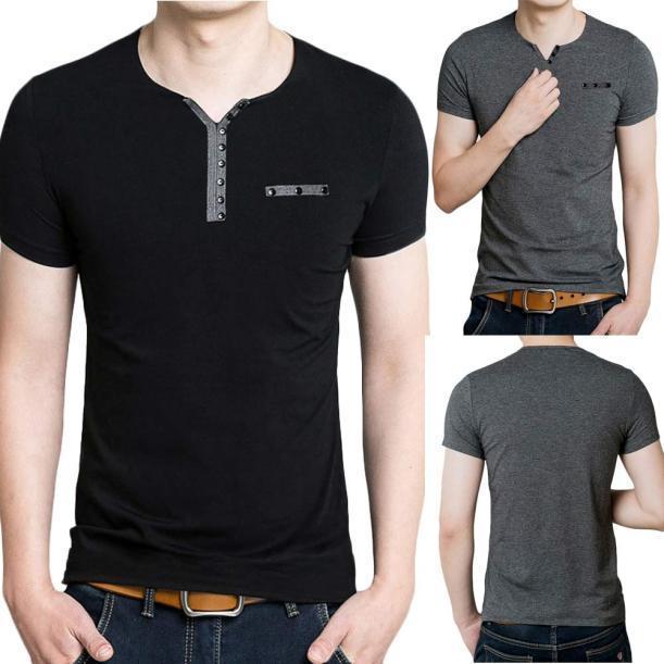 夏季男士短袖T恤男装体恤韩版V领半袖衣服男纯色t恤