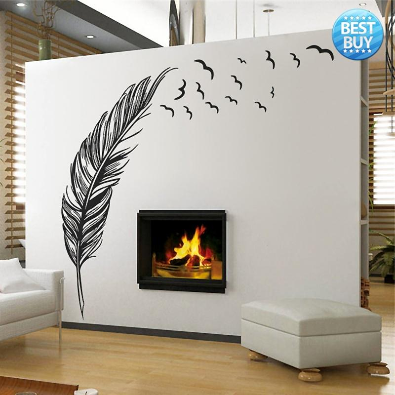 Art Flying Feather Birds Removable Vinyl Wall Stickers Mural Decal Home Decor