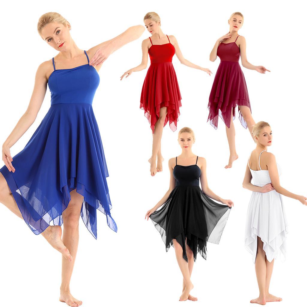 iEFiEL Womens Lyrical Ballet Dancing Costume Criss Cross Back Leotard Dance Dress Modern Contemporary