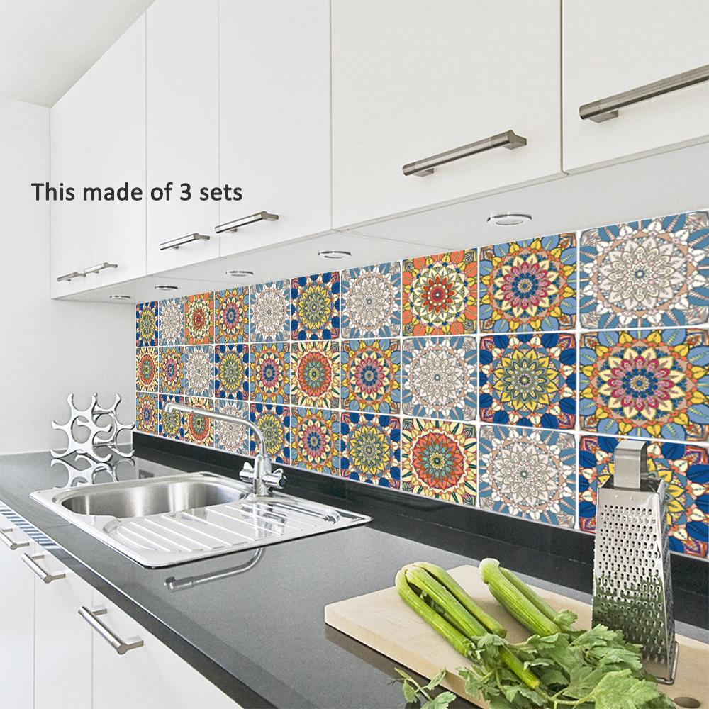1Roll 3D selbstklebende Fliesenaufkleber PVC Küche Bad Dekorative Wandtattoos