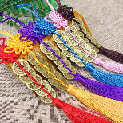 Fashion Feng shui Chinese Knot Lucky Coin Tassel Pendant Car Hanging Decor
