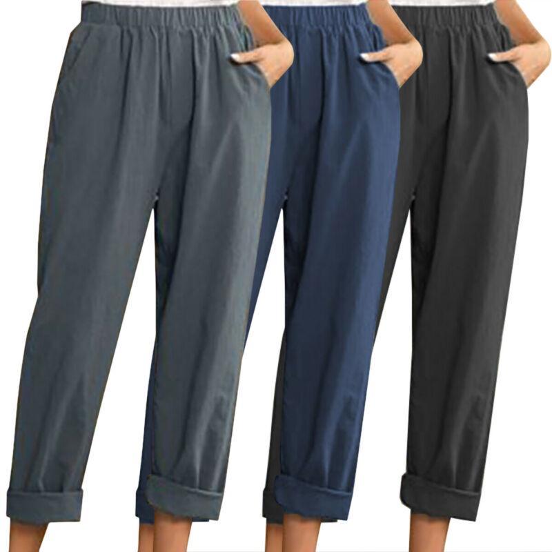 Womens Cotton Elastic Waist Harem Pants Ladies Plain Casual Trousers Plus Sizes