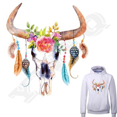 Retro Bull Bone Stickers Handmade Thermal Transfer Parches For Woman Washable DIY Accessory Patches