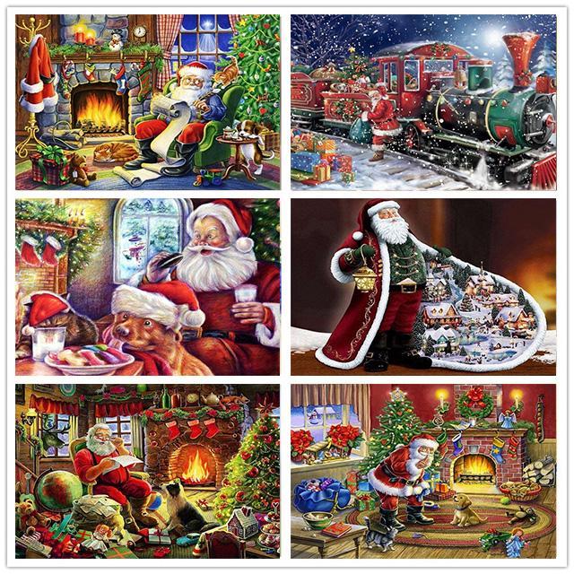 HUACAN Алмазная вышивка Рождественские пейзажи 5D алмазная живопись вышивка крестиком Санта-Клаус Стразы – купить по низким ценам в интернет-магазине Joom
