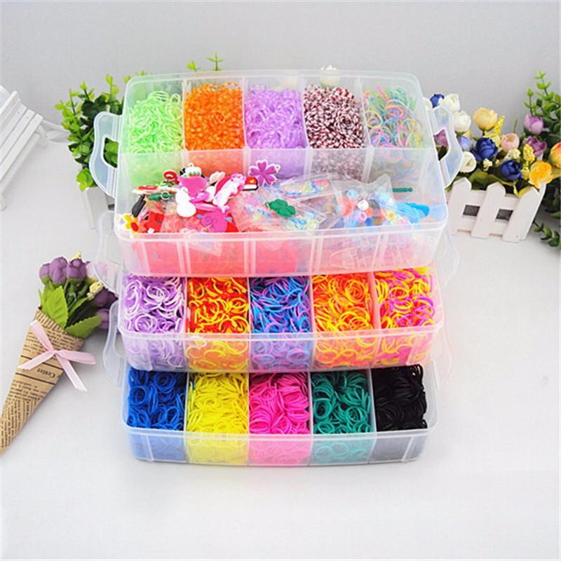 b63d193ebf17 Kit de pulsera banda elástica recargable bandas de arco iris telar  organizador para niños juguetes educativos