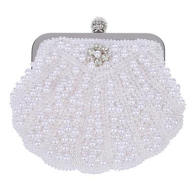 345c30205d1a Элегантный клатч жемчужина партии сумочка оболочки для новобрачных сумка  белая