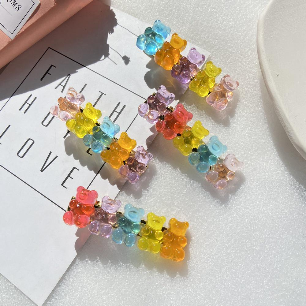 New Girl Jelly Bear Candy Color Hair Clip Creative Retro Women Simple Duckbill Clip