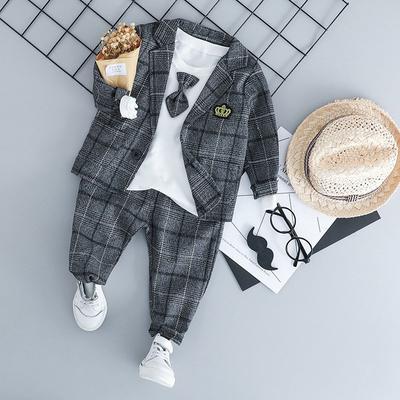 Kids Baby Boys Gentleman Outfits Set Blazer Coat T Shirt Tops Denim Pants 3PCS