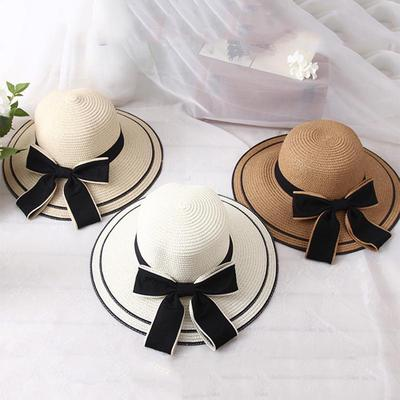 6367368267efc Straw Hat Summer Sunproof Bucket Hat Travel Wide Brim Cap Foldable Bowknot