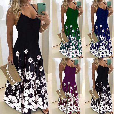 Suda Plus Size Elegant Women Party Dress Summer Long Dress With Suspenders