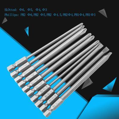 10PCS 1//4 Hex Shank Screwdriver Bits Set Flathead//Slotted//Crosshead Hexgonal 100mm Long Screwdriver Head