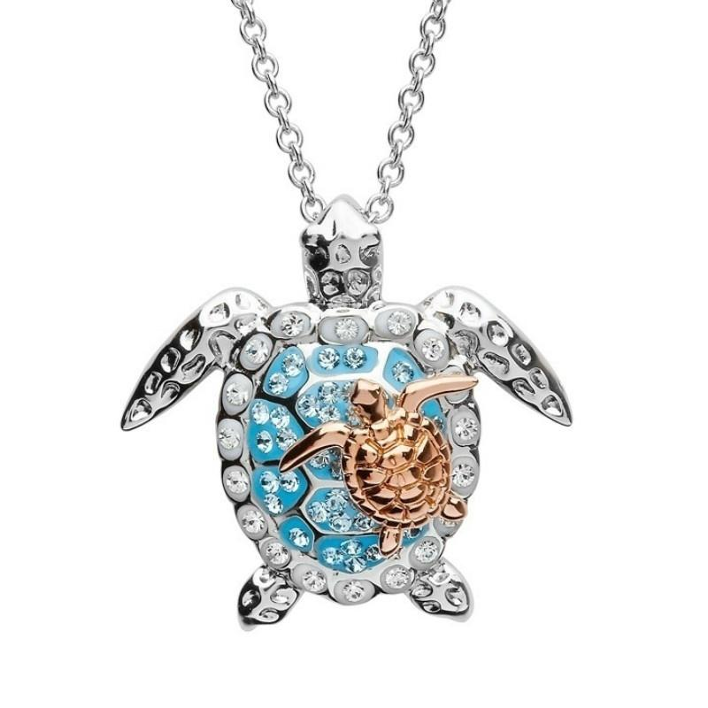 Sea Turtle Jewelry Necklace Great Gift for Mom Sea Turtle Pendant with Sea Glass color