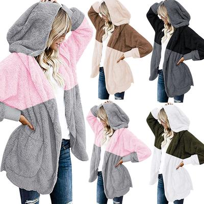 BB Fleece pocket Cardigan Jacket Womens Oversized Open Front