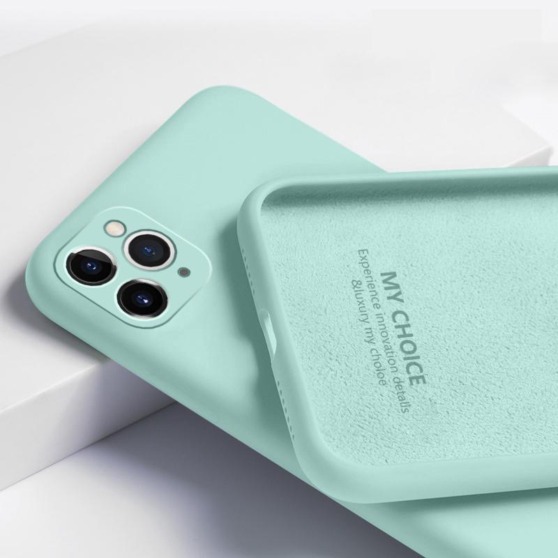 Для iPhone 11 Pro Max XS XR SE 2020 жидкий силиконовый Чистый цвет Мягкий защитный Anti-drop Case Обложка фото